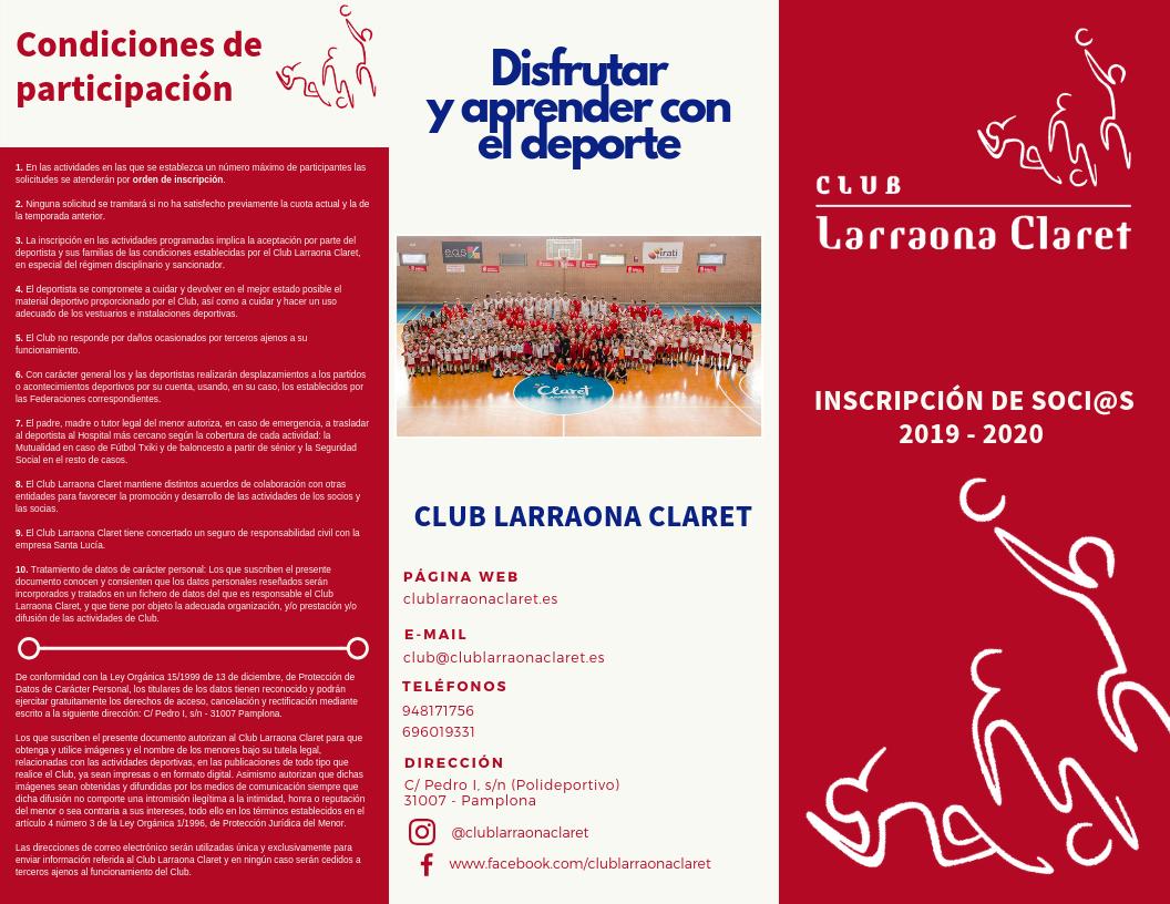 inscripción Club Larraona